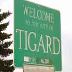 tigard oregon welcome and population sign